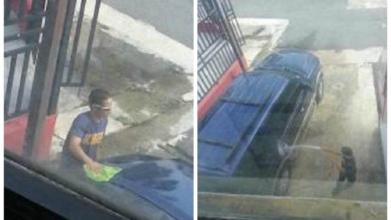 Imágenes de un bombero lavando el auto oficial del Jefe de Bomberos Ange...
