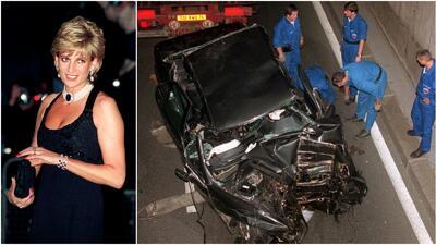 Diana princesa de Gales y los restos del vehículo involucrado en el acci...