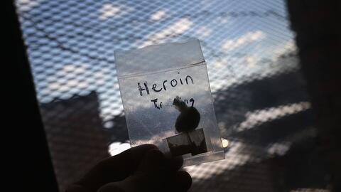 Un policía muestra una bolsa con heroína confiscada en Mas...