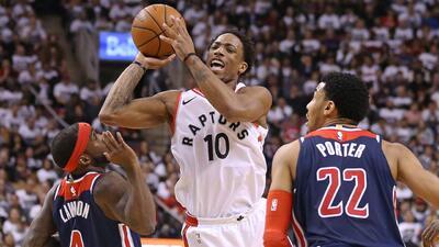 Con 37 puntos de DeMar DeRozan, los Raptors aventajan 2-0 ante los Wizards