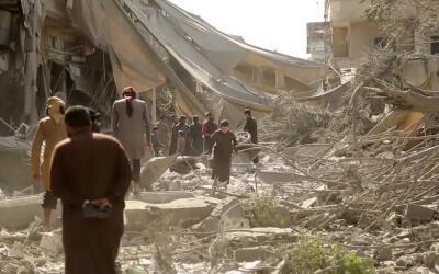 Un sector de Raqa bombardeado a finales de mayo de 2017
