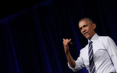 El presidente Barack Obama durante un acto de campaña en Columbus...