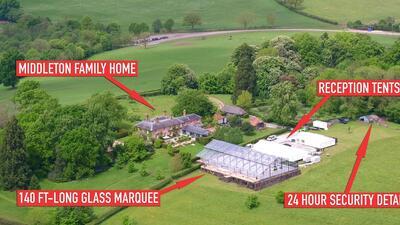 """En el patio de sus papás, Pippa Middleton construyó un """"palacio de cristal"""" para su boda"""