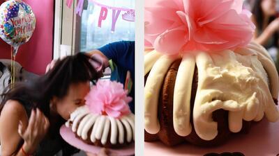 Mira la tremenda mordida que Carla le dio a su pastel empujada por Eddie G
