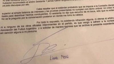 Carta de Lionel Messi