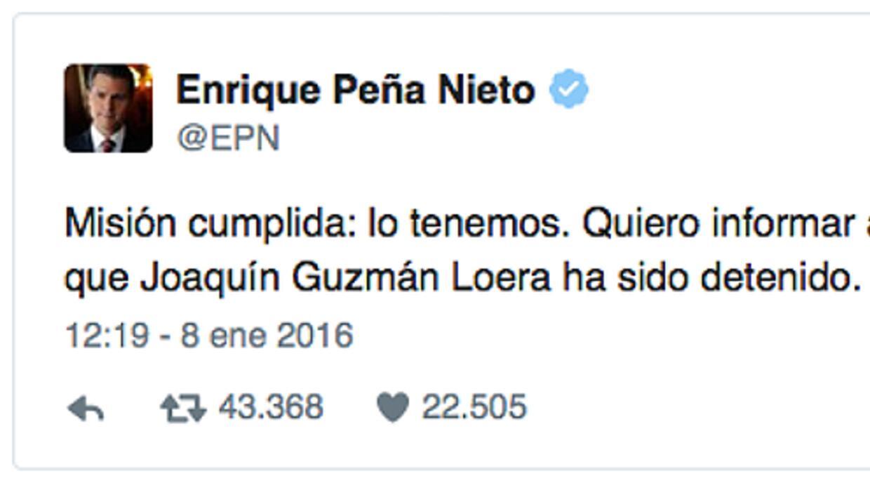 Recaptura Chapo, Twitter, Peña Nieto