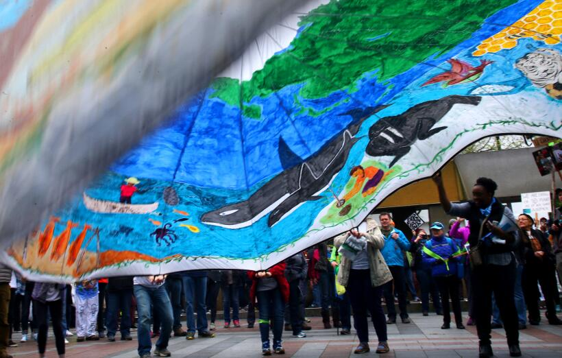 Otra enorme bandera ilustrando el planeta y toda la vida que corre pelig...