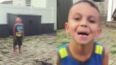 (Video) Papá le arranca su primer diente a su hijo con un dron