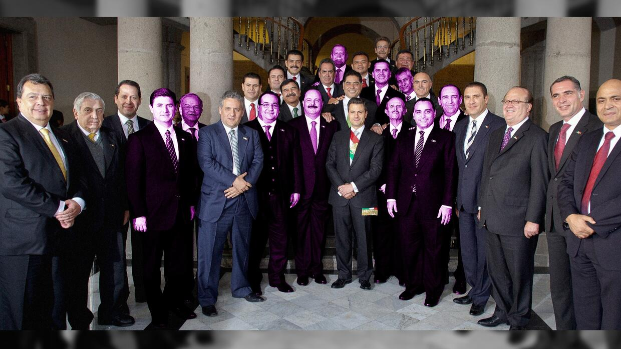 Governors under investigation highlighted in this photo with President E...