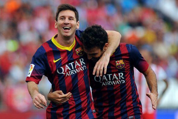 A nivel colectivo, Messi ganó junto con el Barcelona la Liga española y...