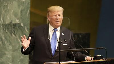 El presidente Donald Trump durante su primer discurso ante la Asamblea G...