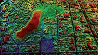 Imagen realizada con tecnología láser del sitio arqueológico huaca Pucll...