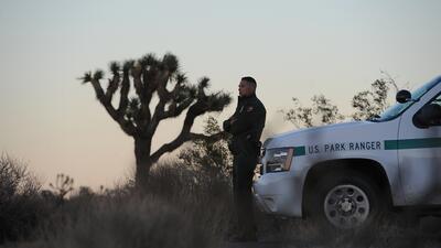 Un guardaparques vigila la entrada del Parque Nacional Joshua Tree en Ca...