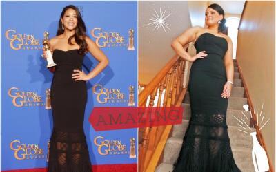 Jessica Casanova (der) usó el vestido de los Golden Globes de Gina Rodrí...