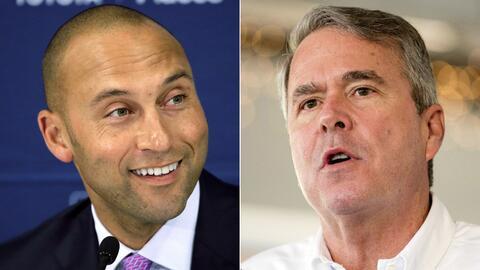 Derek Jeter (izquierda) y Jeb Bush.