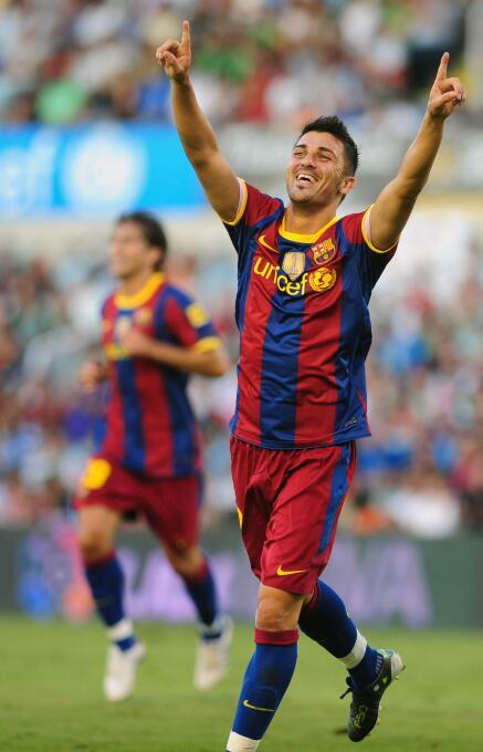 David Villa fue otro de los que debutó con gol el 29 de agosto de 2010 e...