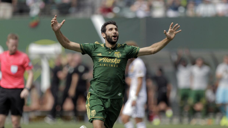 El argentino Diego Valeri, de los Timbers de Portland, celebra su gol co...