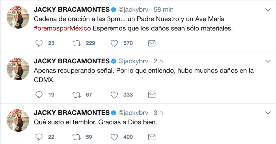 La actriz mexicana Jacqueline Bracamontes invitó al pueblo a enca...