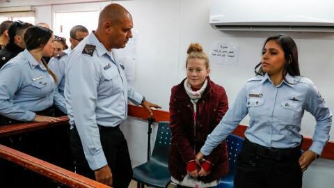 Ahed Tamimi en el momento en el que le fueron presentados los cargos el...