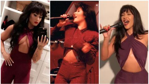 Al centro, la auténtica Selena Quintanilla, quien fue asesinada h...