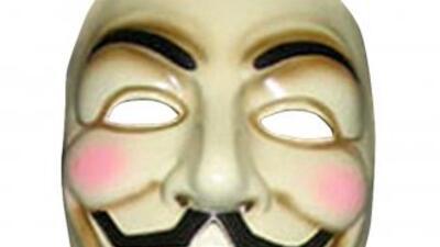 La máscara de la cinta V for Vendetta, usada por los 'hackers'.