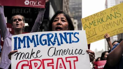 Una protesta a favor de los dreamers cerca de la Torre Trump, en Nueva Y...