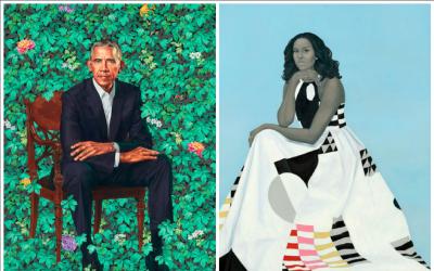 Retrato oficiales del presidente Barack Obama y la primera dama Michelle...