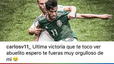 Mientras todos celebraban el triunfo de México-Alemania, Carlos Vela lloró la muerte de su abuelo