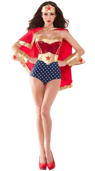El disfraz de Mujer Maravilla de los superhéroes DC.