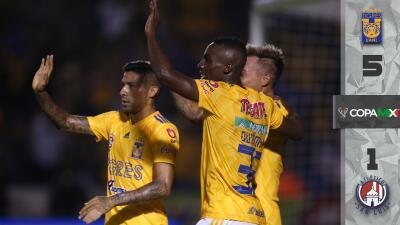 Tigres revive y golea sin piedad al Atlético San Luis en la Copa MX
