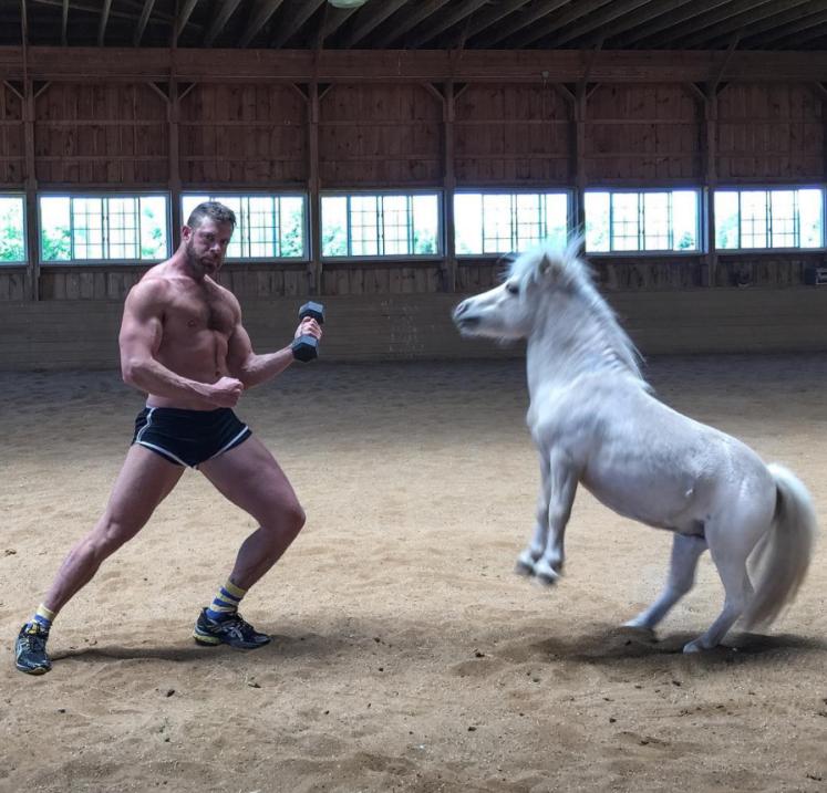 Un hombre con traje de baño de mujer baila con un pony (el video ya lo v...