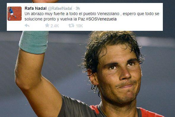 Rafael Nadal también se solidarizó con todos los venezolanos y les mandó...