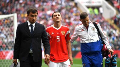 En fotos: la tristeza de Alan Dzagoev, el primer lesionado que salió de Rusia 2018