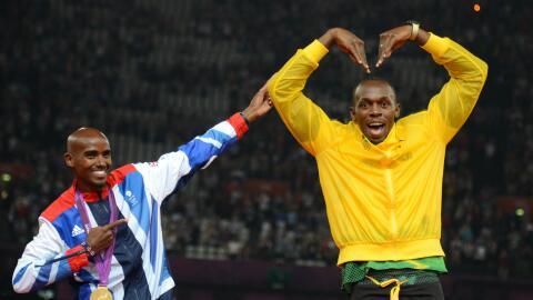 Mo Farah y Usain Bolt.