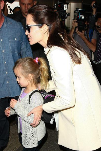 Angie a su salida del aeropuerto.
