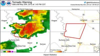 Confirman tornado en el área de Fredericksburg, el cual se desplaza a 35...