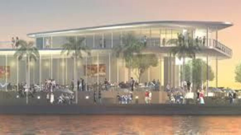 Maqueta del proyecto The Harbour, que se construiría en la Ciudad de Mia...
