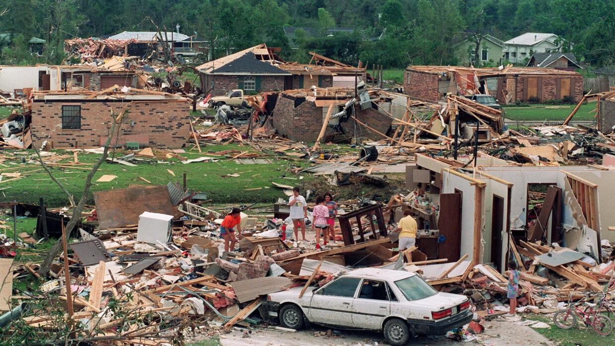 The aftermath of Hurricane Andrew in Florida, 1992.