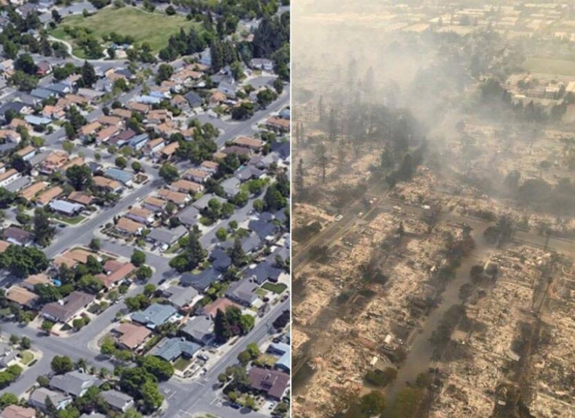 Las llamas de uno de los incendios que arrasan miles de acres en el nort...