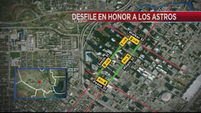 Ruta del desfile en honor a los Houston Astros.