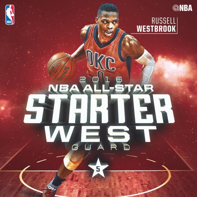 Russell Westbrook (OKC) 772,009 votos - 5 veces selecccionado para el Ju...