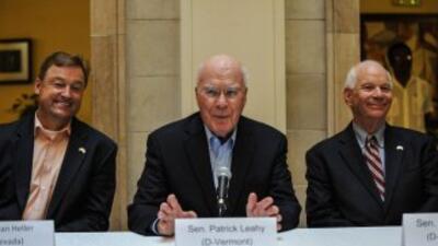 El senador Patrick Leahy, demócrata de Vermont, en una rueda de prensa e...