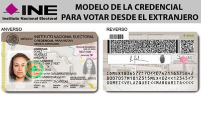 Modelo de la credencial para votar en el exterior.