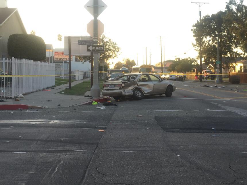 Uno de los automóviles accidentados.