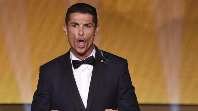 El portugués festejó eufóricamente su tercer Balón de Oro.