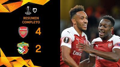 Arsenal 4-2 Vorskla - GOLES Y RESUMEN - Grupo E Europa League