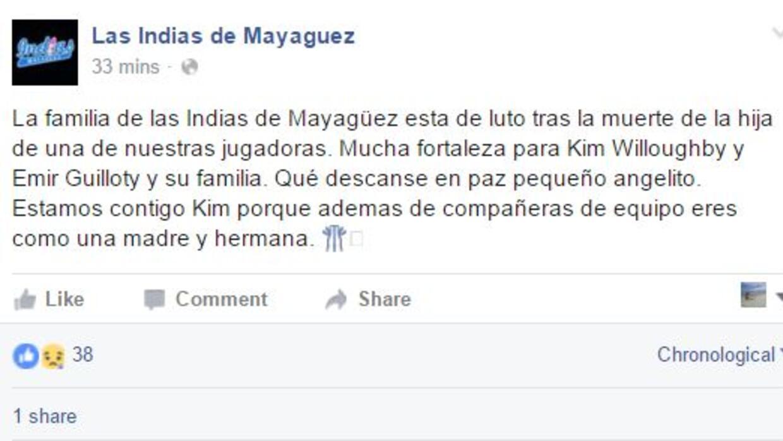 Reacción en Facebook de las Indias de Mayagüez