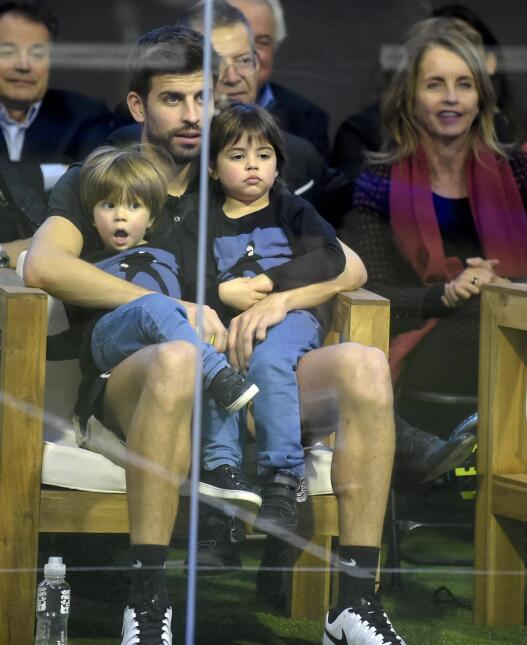 Gerard Pique takes his kids, Milan and Sasha, to the Inauguration of a...