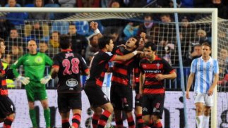 Augusto Fernández celebra el gol del Celta ante Málaga.