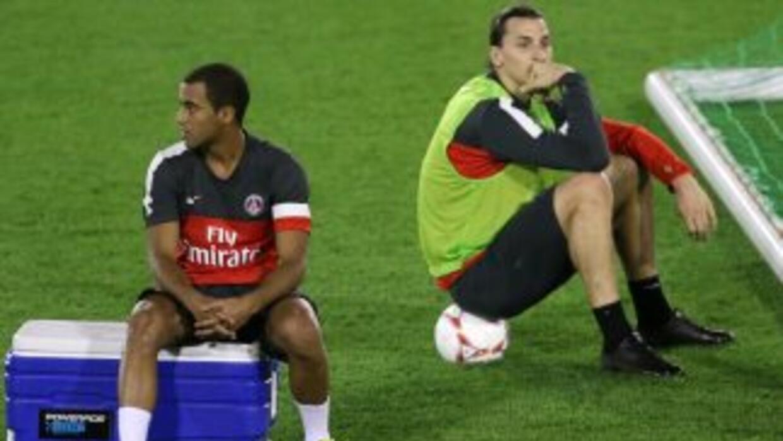 Moura e Ibrahimovic, durante un entrenamiento del PSG.